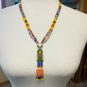 Native American Seed Bead Bright Color Necklace